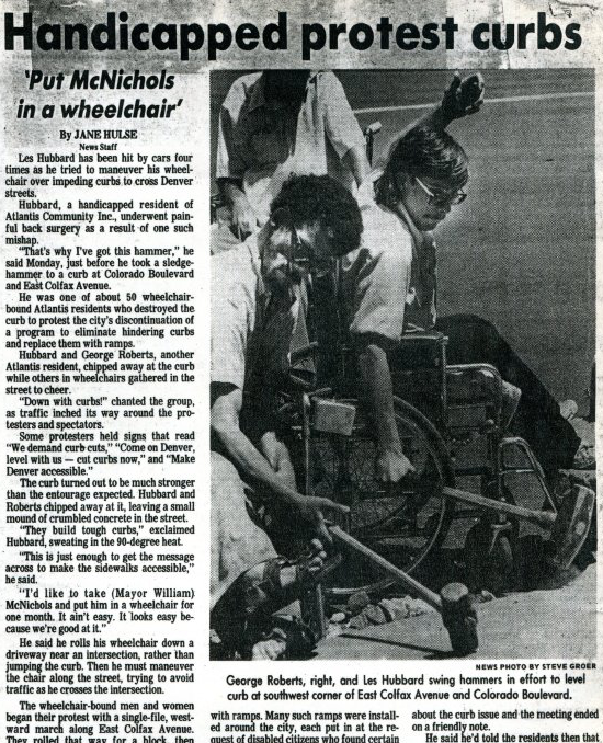 "Newspaper article entitled ""Handicapped protest curbs"" from 1980"