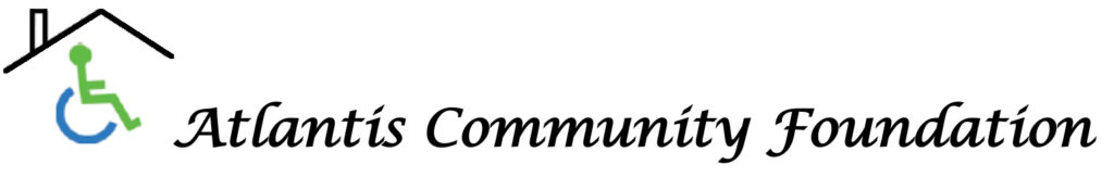 The logo for Atlantis Community foundation. A person in a wheelchair underneath a roof.