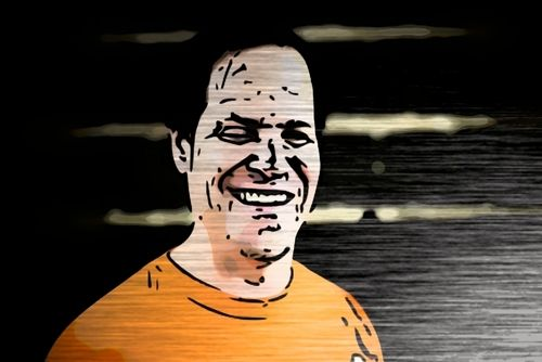 Man in an orange Atlantis shirt smiling and looking friendly with a cartoon photo effect. The background is a glossy black brick wall with etched, shiny lines.